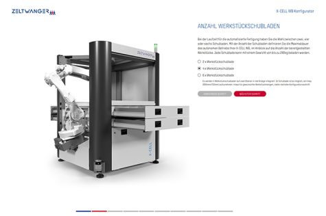 Online configurator for machine tool loader X-CELL WB