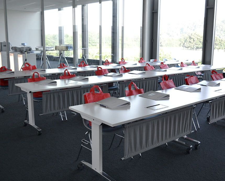 Training room with documents – a service provided by Zeltwanger Dichtheitsprüfung
